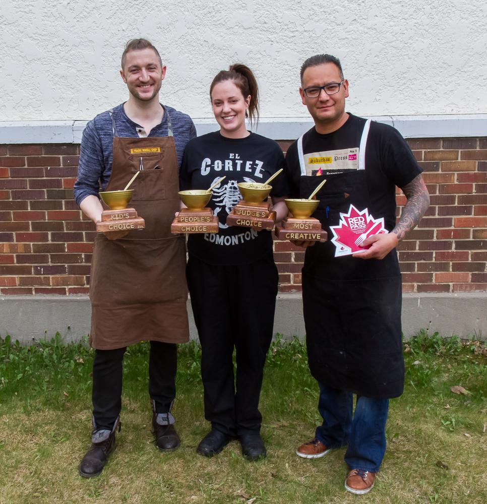 2016 Winners! (l to r) Eric Hanson - Prairie Noodle Shop Lindsay Porter - El Cortez Shane Chartrand - Sage